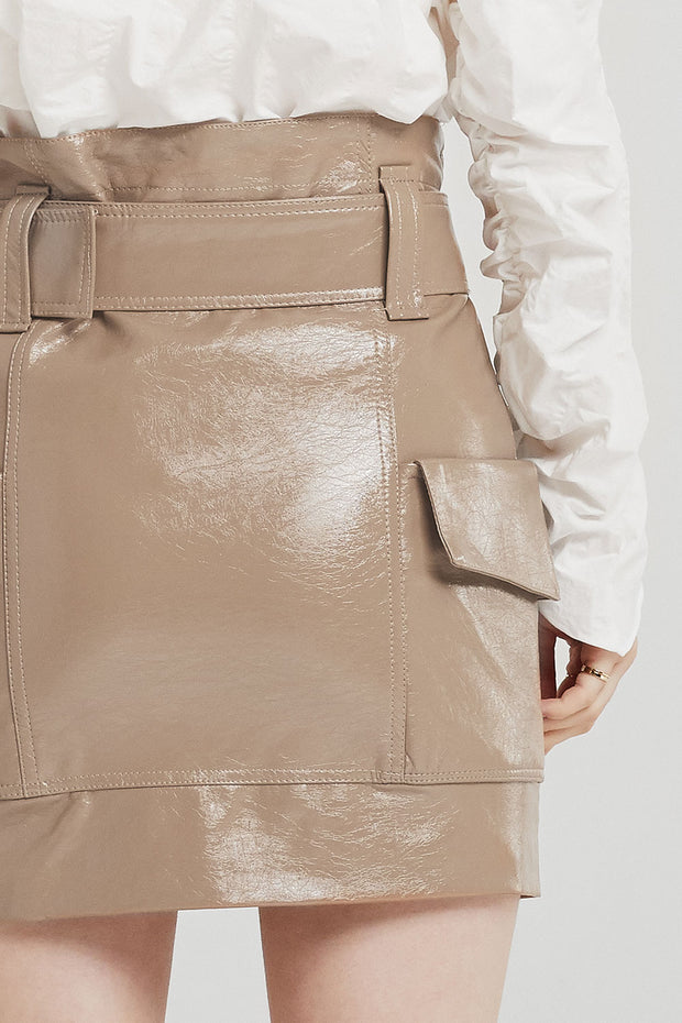 storets.com Everly Patent Leather Cargo Skirt