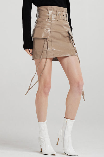 Everly Patent Leather Cargo Skirt