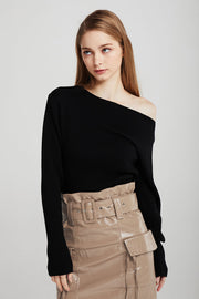 Adalyn Asymmetric Neck Rib-Knit Jumper