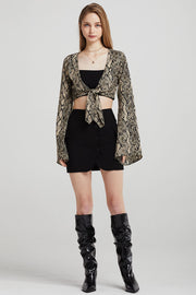 Reese Tie Front Top in Snake Print