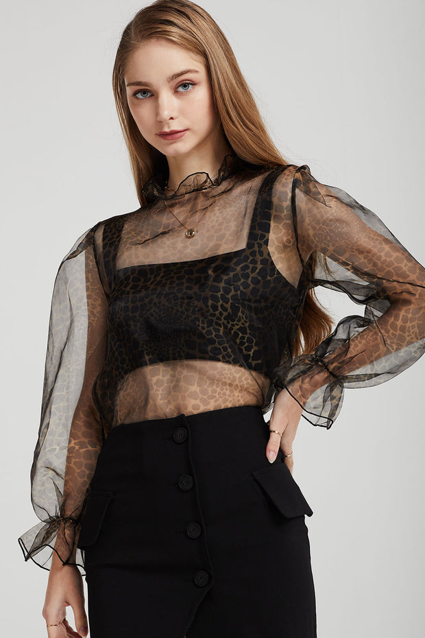 storets.com Ivy See-Thru Leopard Blouse
