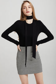 storets.com Melody Shoulder Padded Top w/Neck Scarf