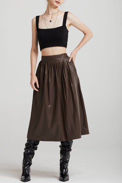 Julia Pleather Pleated Midi Skirt