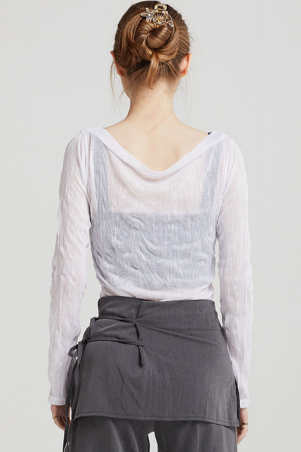 Vivian Boat-Neck Crinkle Top