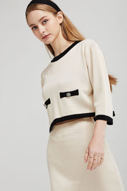 Eleanor Contrast Trim Knit Top