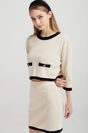 Eleanor Contrast Trim Knit Skirt
