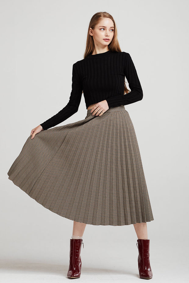 Zoe Checked Pleated Skirt