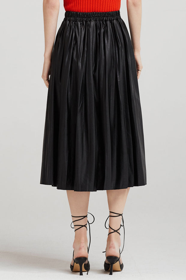 storets.com Julia Pleather Pleated Midi Skirt