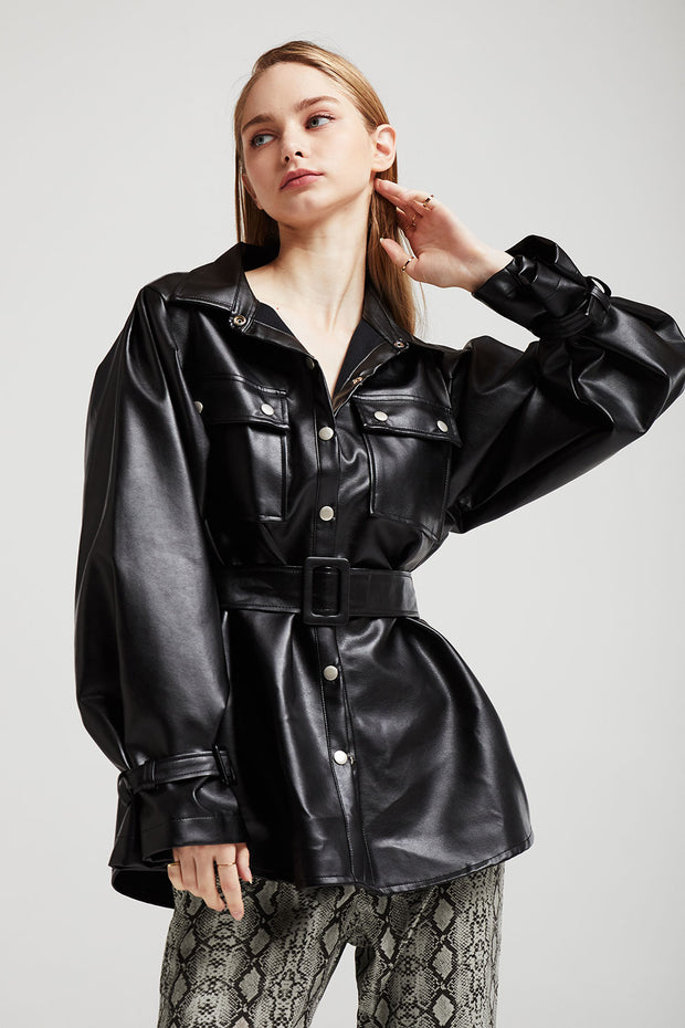 Abigail Oversized Pleather Shirt Jacket