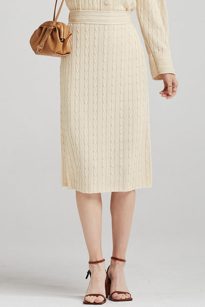 Alice Cable-Knit Long Skirt