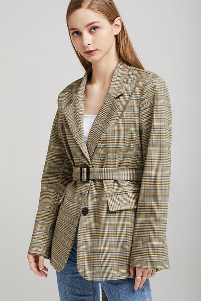Mia Oversized Plaid Blazer w/Belt