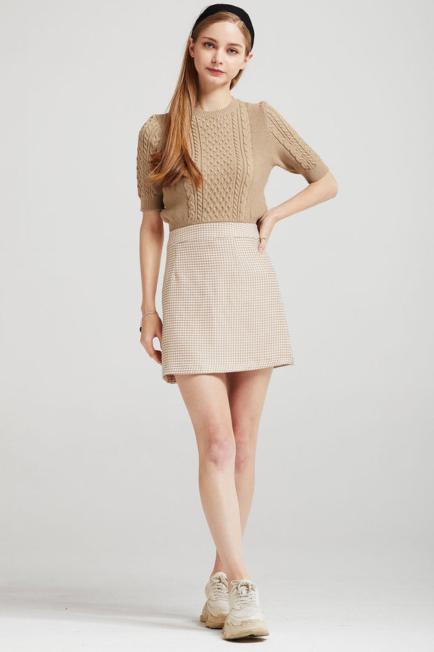 Lilah Houndstooth Mini Skirt