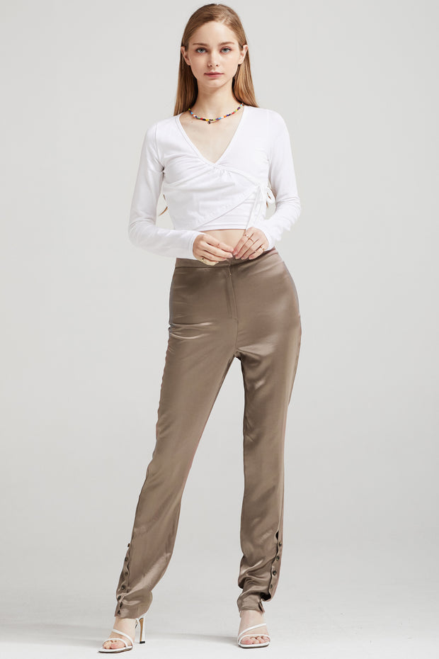 Vivienne Button-Ankle Satin Pants