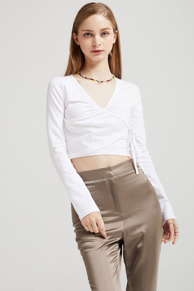 Fiona Cropped Wrap Top