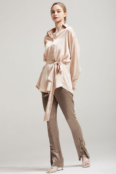 storets.com Bailey Satin Shirt Dress