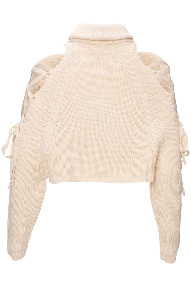 [DOUBLE ICON] READY OR NOT KNIT SWEATER - CREAM - Shop Double Icon