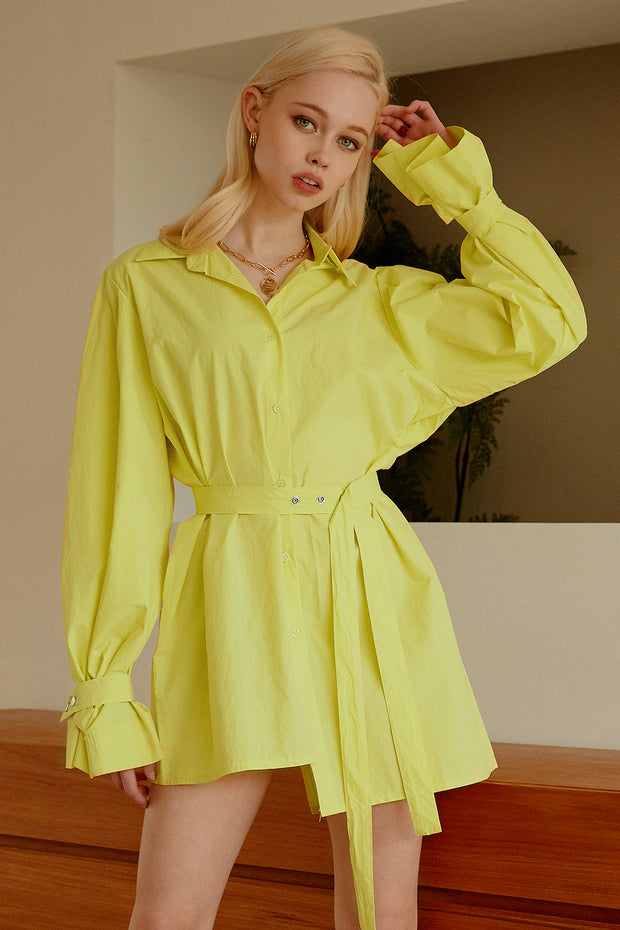 Hena Asymmetric Hem Shirt Dress
