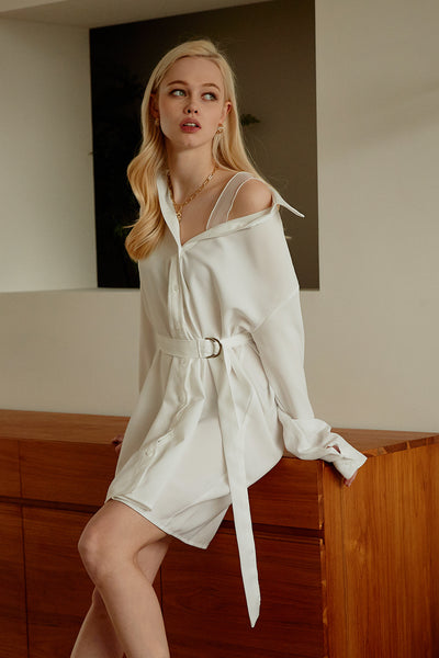 Aubrey Lace Strap Shirt Dress w/Belt