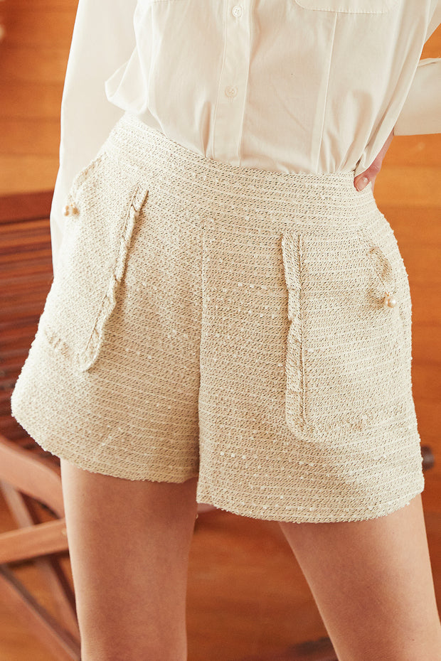 Kelly Frill Pocket Tweed Shorts