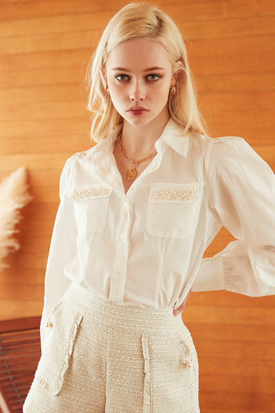 storets.com Aria Pearl Embellished Shirt