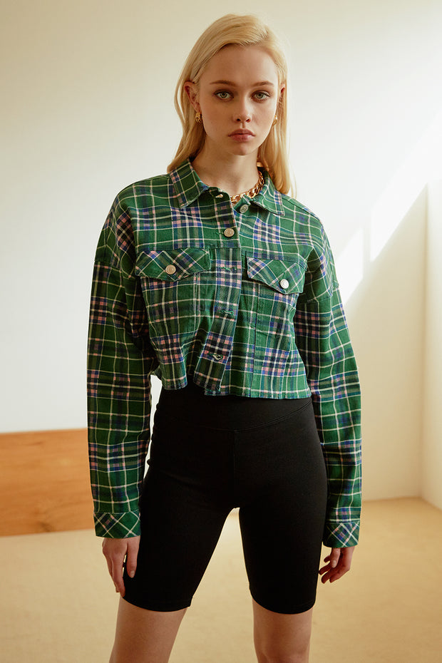 Mao Cropped Plaid Jacket