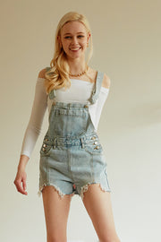Stone Washed-out Denim Overalls