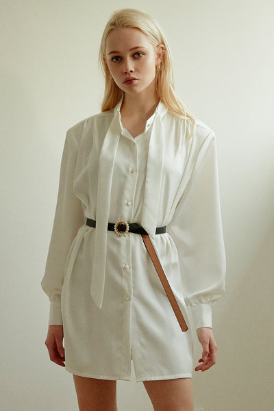 Patricia Tie Neck Shirt Dress w/Belt