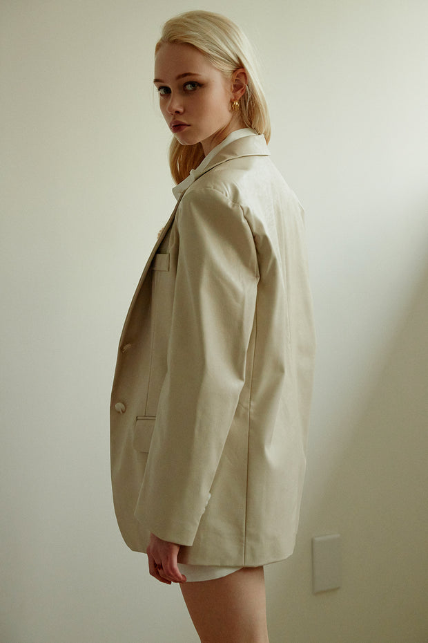 Mia Oversized Fit Pleather Jacket