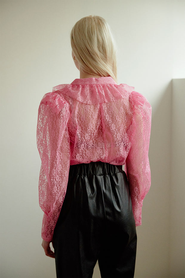 Giana Ruffle See Thru Lace Blouse