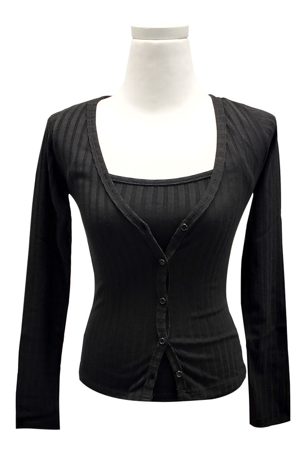 storets.com Amy Ribbed Cardigan Set