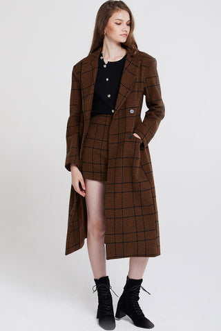 Peggy Double Breasted Plaid Coat