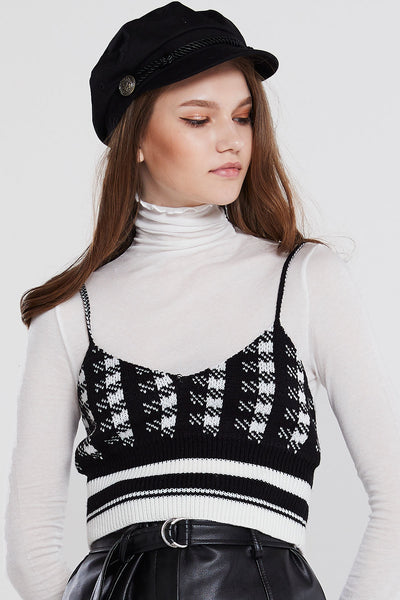 Nica Checkered Knit Top