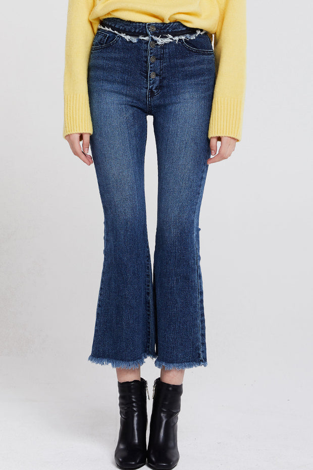 storets.com Holly Fringed Flare Jeans