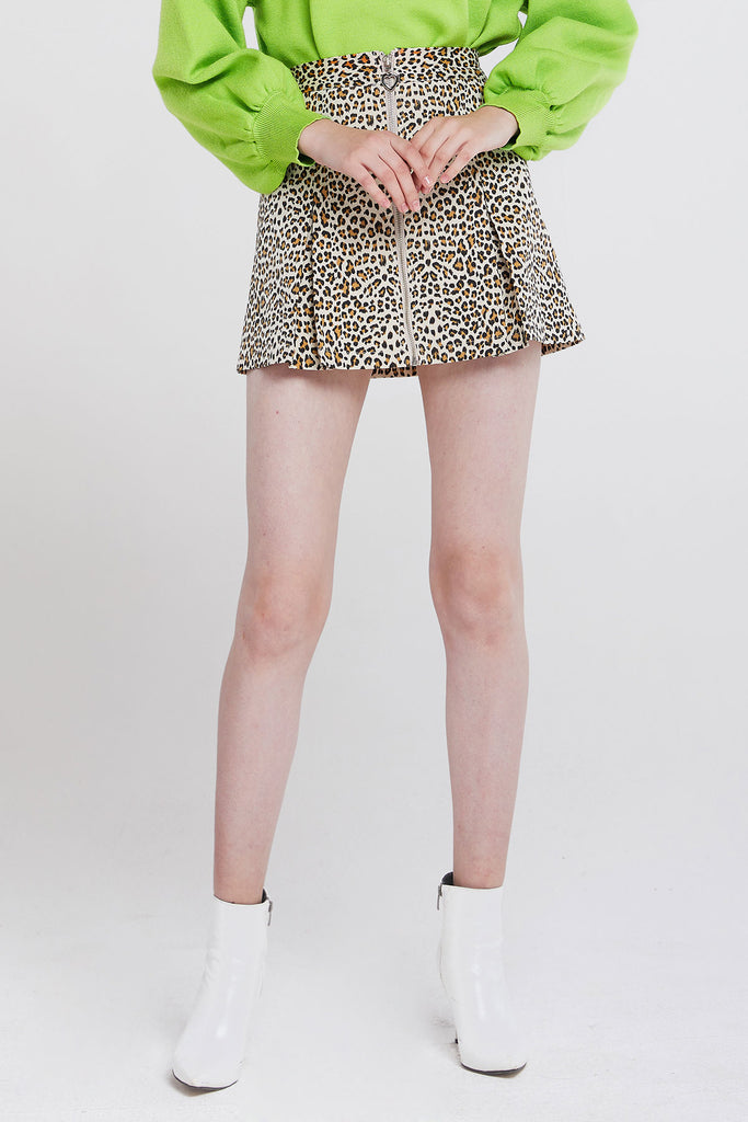 Megan Zippered Leopard Print Skirt