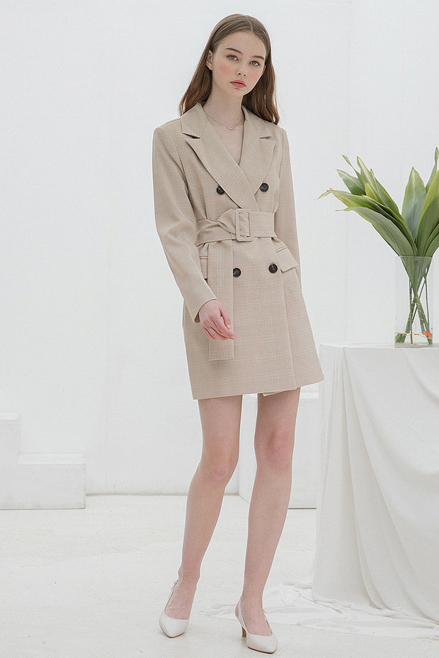 [clet] Check Jacket Belt Dress Beige
