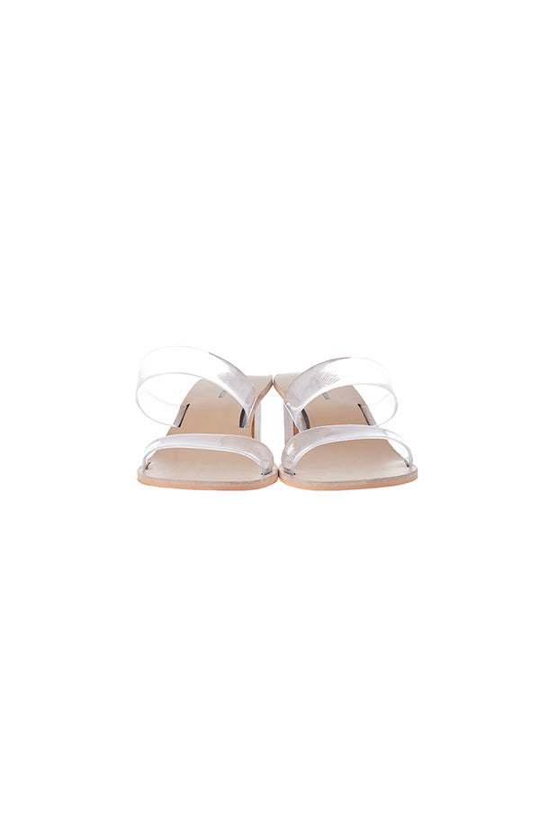 Clear Semi-wide Strap Sandals-Beige