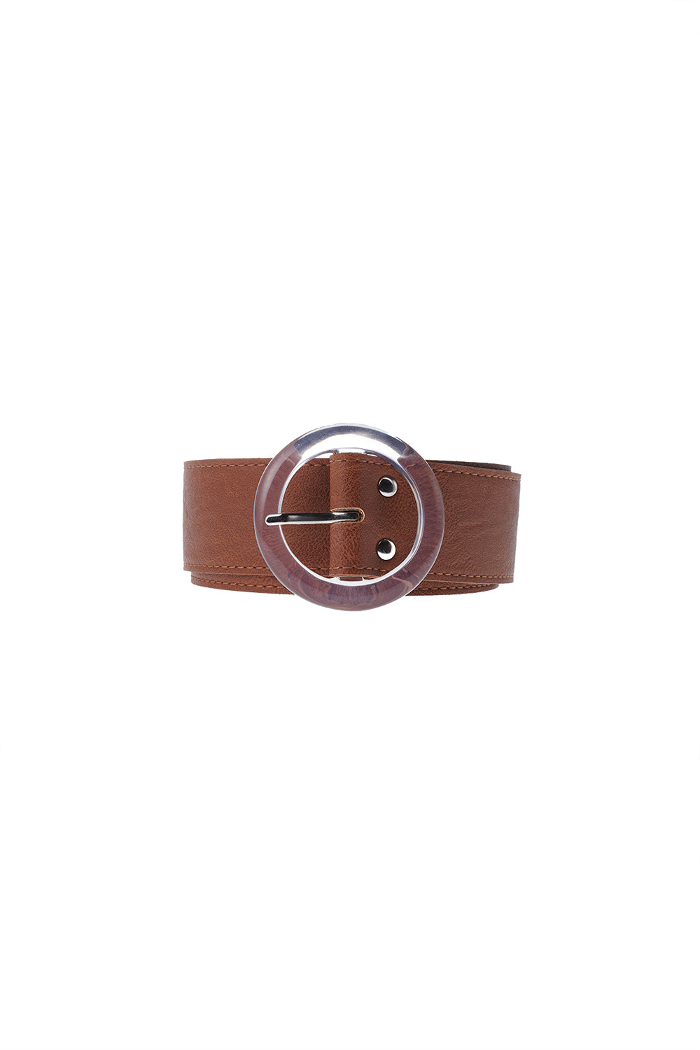 Glass Buckle Belt-Camel