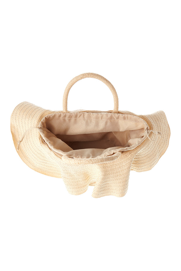 Straw Frill Bucket Bag-Beige