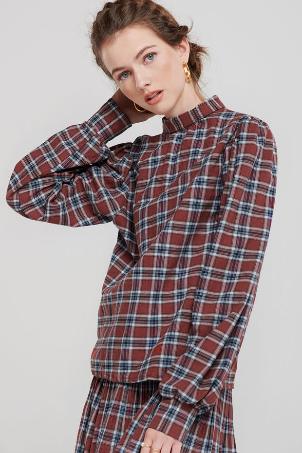 Talia Tartan Check High Collar Blouse