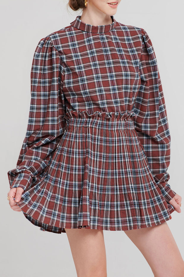 Talia Tartan Check Pleats Skirt