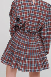 storets.com Talia Tartan Check High Collar Blouse