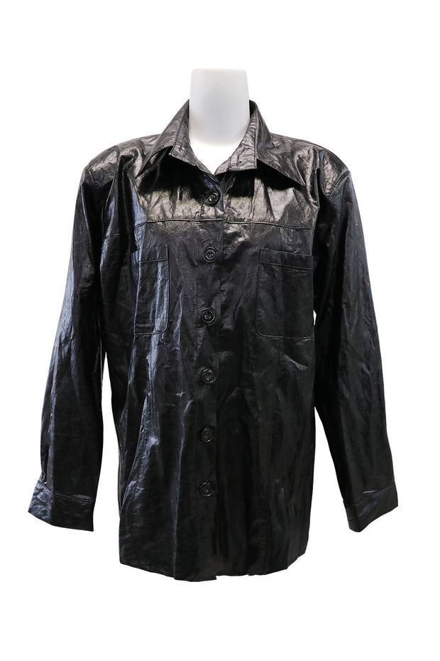 storets.com Ava Crinkled Pleather Shirt Jacket