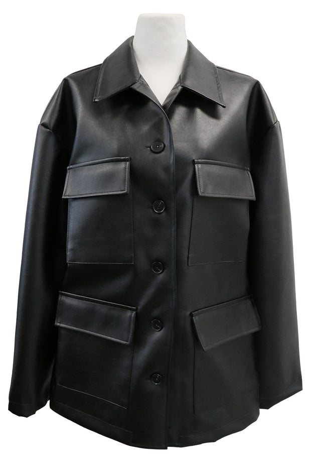 storets.com Sadie Flap Pocket Pleather Jacket