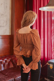 [LETTER FROM MOON] Square Neck Ruffle Smocked Blouse in Brown