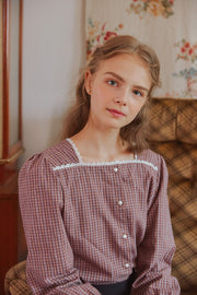 [LETTER FROM MOON] Lace-Trim Square Neck Check Blouse in Purple