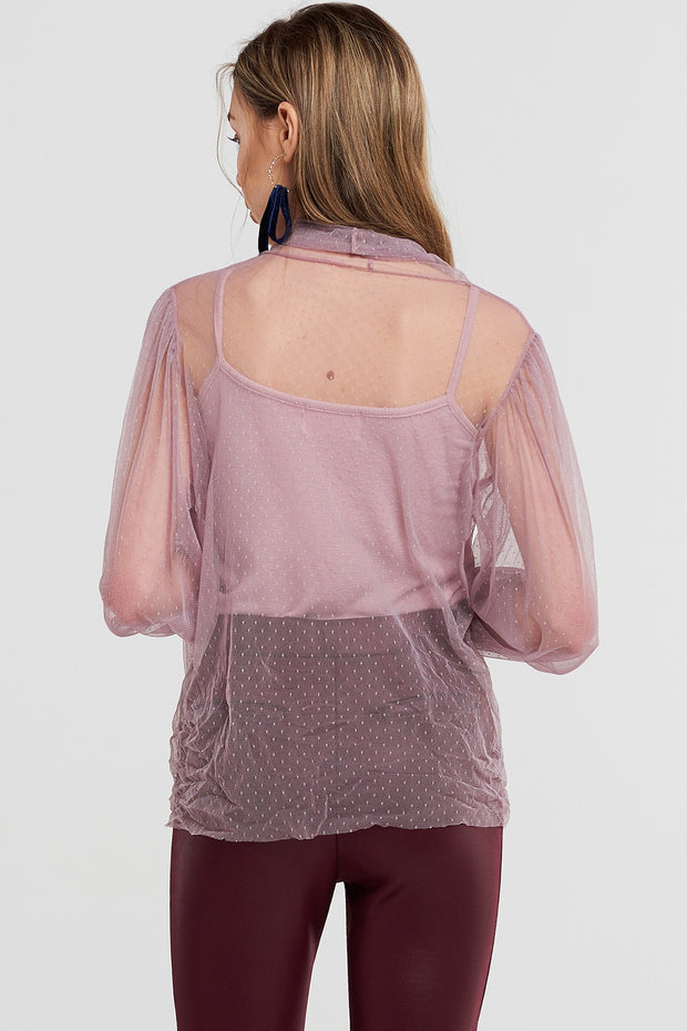 Vivi Dot Bow Mesh Blouse