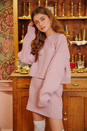 [LETTER FROM MOON] Romantic Wool Crop Sweater in Baby Pink