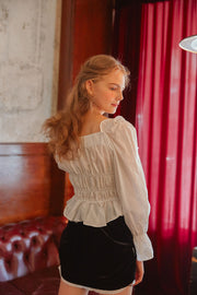 [LETTER FROM MOON] Square Neck Ruffle Smocked Blouse in White