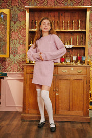 [LETTER FROM MOON] Wool Knit Skirt in Baby Pink