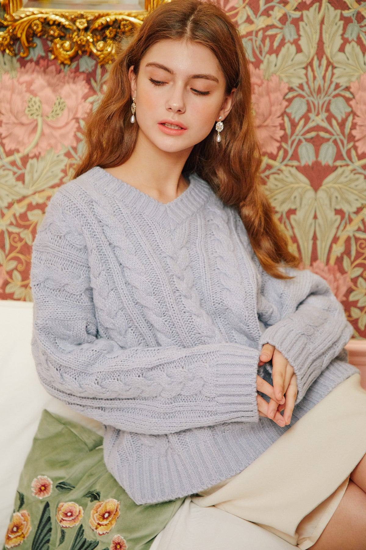 [Letter From Moon] Twist V Neck Wool Sweater In Skyblue by Storets